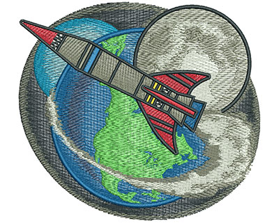 Embroidery Design: Space Rocket Lg 4.54w X 4.12h