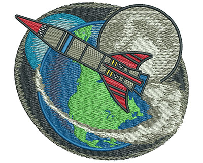 Embroidery Design: Space Rocket Med 4.04w X 3.67h