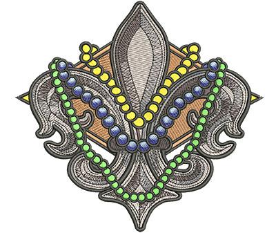 Embroidery Design: Mardi Gras Fleur de Lis Med5.34w x 4.95h