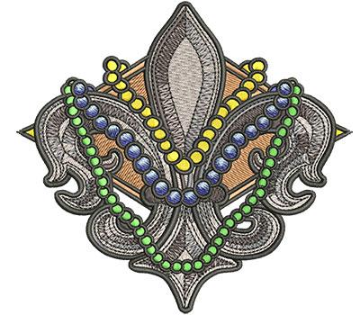 Embroidery Design: Mardi Gras Fleur de Lis Sm4.34w x 4.02h