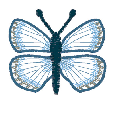 Embroidery Design: Butterfly Spring Azure small3.90w X 2.06h