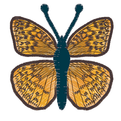 Embroidery Design: Butterfly Great Spangled Fritillary small 3.90w X 2.32h