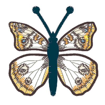 Embroidery Design: Butterfly Common Buckeye large4.66w X 2.61h
