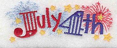 Embroidery Design: July 4th small 3.89w X 1.51h