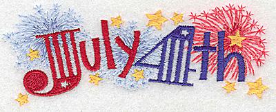 Embroidery Design: July 4th medium 4.98w X 1.89h