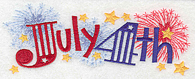Embroidery Design: July 4th large 6.97w X 2.63h