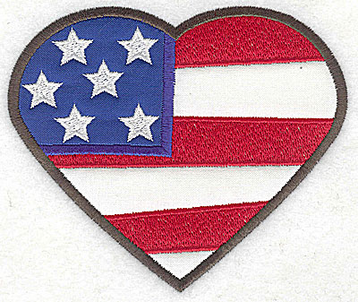Embroidery Design: Heart shaped flag double applique 4.75w X 4.04h