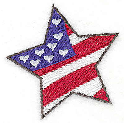 Embroidery Design: Star shaped flag 2.95w X 3.00h