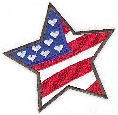 Embroidery Design: Star shaped flag double applique 4.92w X 4.94h