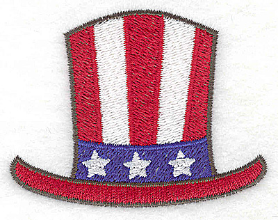 Embroidery Design: Uncle Sam's top hat 2.97w X 2.28h