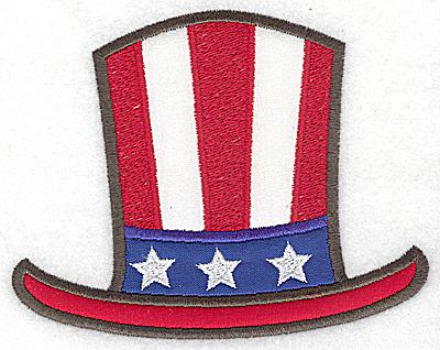 Embroidery Design: Uncle Sam's top hat triple applique 5.20w X 4.11h