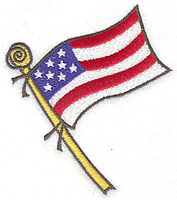 Embroidery Design: American Flag waving 3.33w X 3.82h