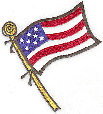 Embroidery Design: American Flag applique 4.44w X 4.99h