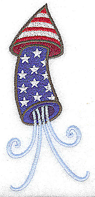 Embroidery Design: Rocket with tail large 2.12w X 4.79h