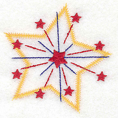 Embroidery Design: Star fireworks small 3.05w X 3.15h