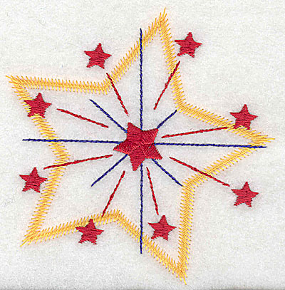 Embroidery Design: Star fireworks large 3.99w X 4.09h