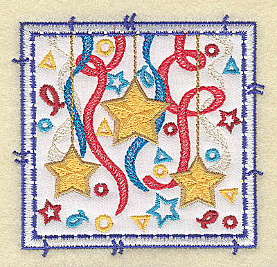 Embroidery Design: Stars ribbon and confetti applique small 3.49w X 3.37h