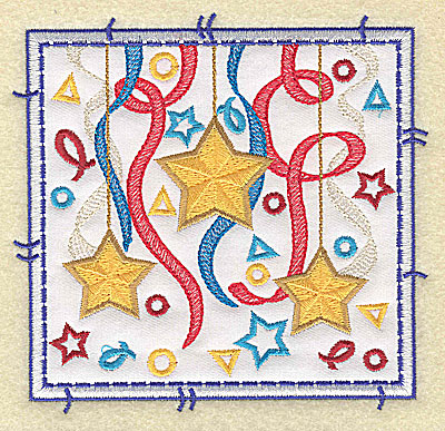 Embroidery Design: Stars ribbon and confetti applique large 4.96w X 4.76h