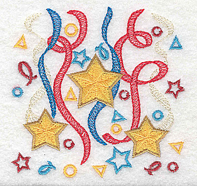 Embroidery Design: Stars ribbon and confetti design 3.51w X 3.43h
