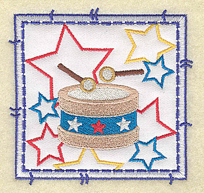 Embroidery Design: Drum and stars applique small 3.49w X 3.37h
