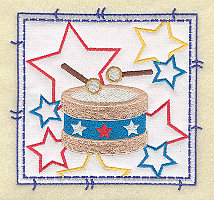 Embroidery Design: Drum and stars applique large 4.96w X 4.76h