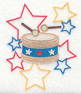 Embroidery Design: Drum and stars design 3.14w X 3.86h