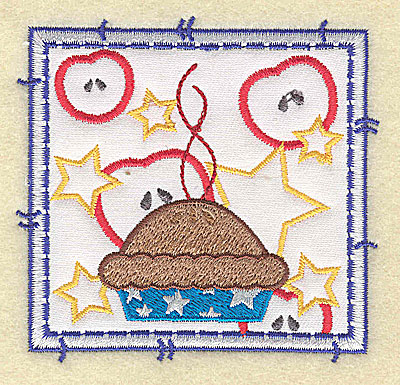 Embroidery Design: American apple pie applique small 3.49w X 3.37h