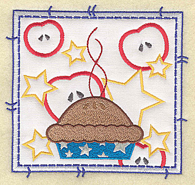 Embroidery Design: American apple pie applique large 4.96w X 4.76h