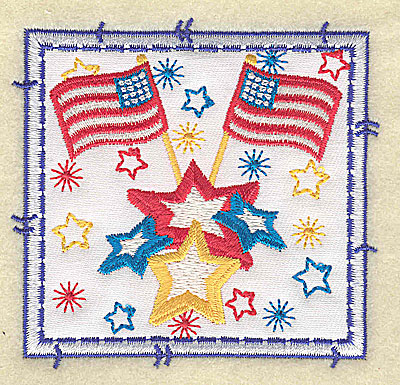 Embroidery Design: American Flags applique small 3.49w X 3.37h
