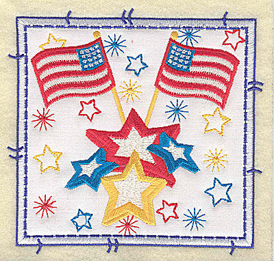 Embroidery Design: American Flags applique large 4.96w X 4.76h