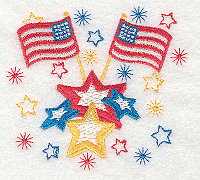 Embroidery Design: American Flags design 3.75w X 3.45h