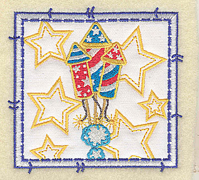 Embroidery Design: Rockets and stars applique small 3.49w X 3.37h