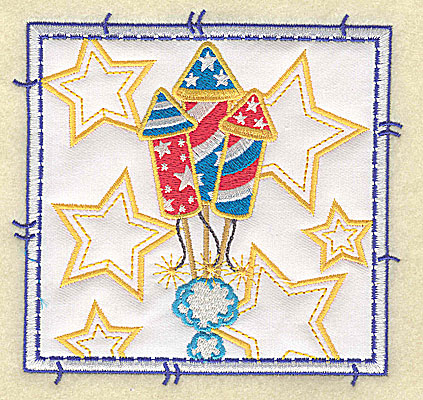 Embroidery Design: Rockets and stars applique large 4.96w X 4.76h