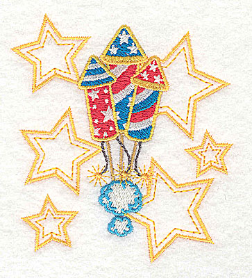 Embroidery Design: Rockets and stars design 3.20w X 3.51h