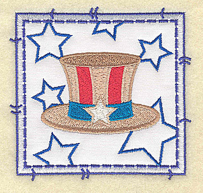 Embroidery Design: Uncle Sam's hat applique small 3.49w X 3.37h