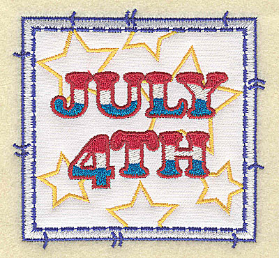 Embroidery Design: July 4th applique small 3.49w X 3.37h
