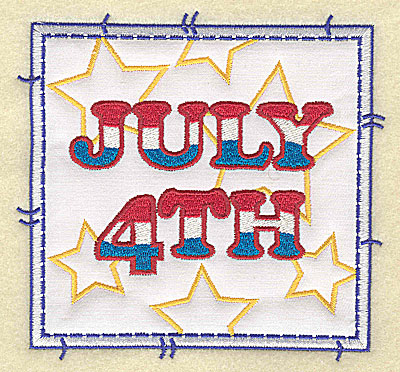 Embroidery Design: July 4th applique large 4.96w X 4.76h
