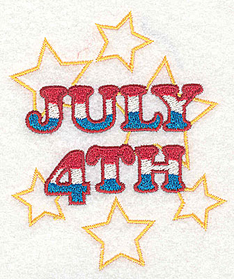 Embroidery Design: July 4th design 3.16w X 3.76h