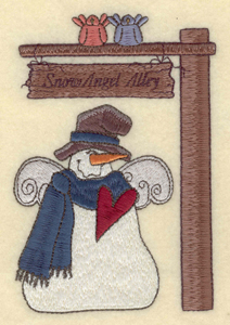 """Embroidery Design: Snowman with sign Snow Angel Alley3.73""""w X 5.48""""h"""