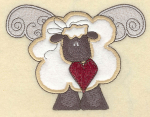 """Embroidery Design: Sheep with wings applique5.51"""" X 4.20""""h"""