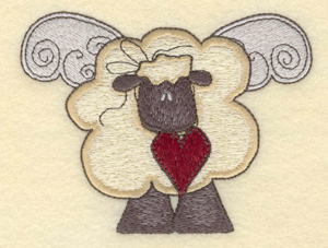 """Embroidery Design: Sheep with wings4.69""""w X 3.58""""h"""