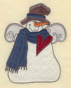 """Embroidery Design: Snowman with hat scarf and heart3.83""""w X 5.01""""h"""