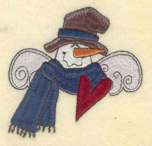 """Embroidery Design: Snowman head with hat and scarf3.94""""w X 3.92"""""""