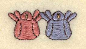 """Embroidery Design: Two birds small1.51""""w X 0.67""""h"""