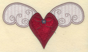 "Embroidery Design: Heart with applique wings6.84""w X 3.97""h"