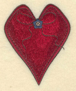 """Embroidery Design: Heart with button and string3.06""""w X 3.82""""h"""