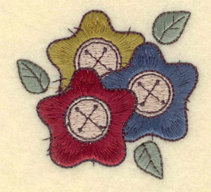 """Embroidery Design: Floral buttons small2.63""""w X 2.47""""h"""