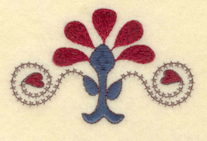 """Embroidery Design: Flower with heart and swirl cross stitch4.10""""w X 2.56""""h"""