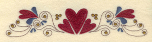 "Embroidery Design: Single row hearts and swirls6.75""w X 1.46"""