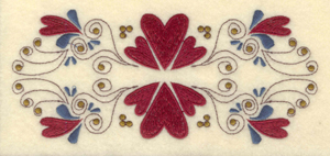 """Embroidery Design: Double row hearts and swirls6.75""""w X 2.98""""h"""